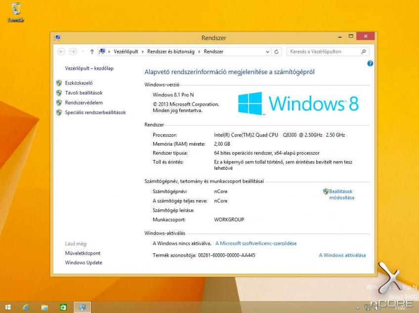 Microsoft Windows 8.1 Professional N with Update VL x64 HUN MSDN