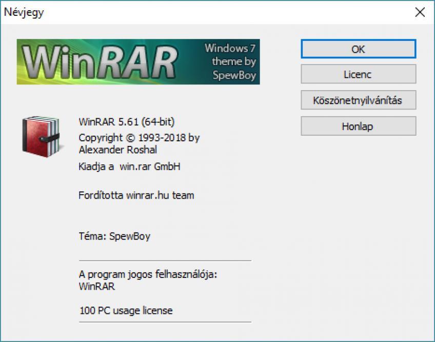 WinRAR v5.61 FINAL x86-x64 HUN + keygen