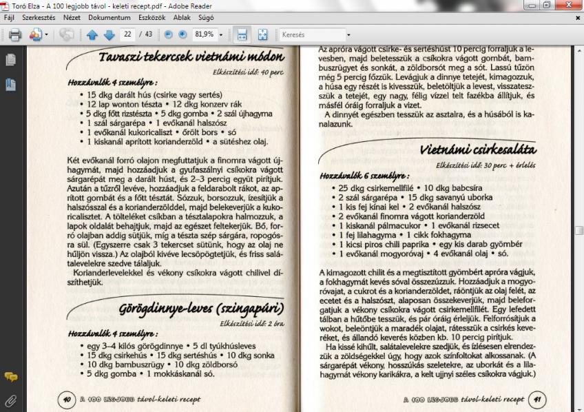 Toró Elza - A 100 legjobb távol - keleti recept